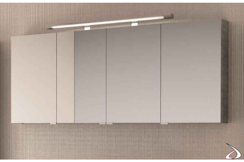 Specchiera 4 ante contenitore da bagno moderna con lampada superiore