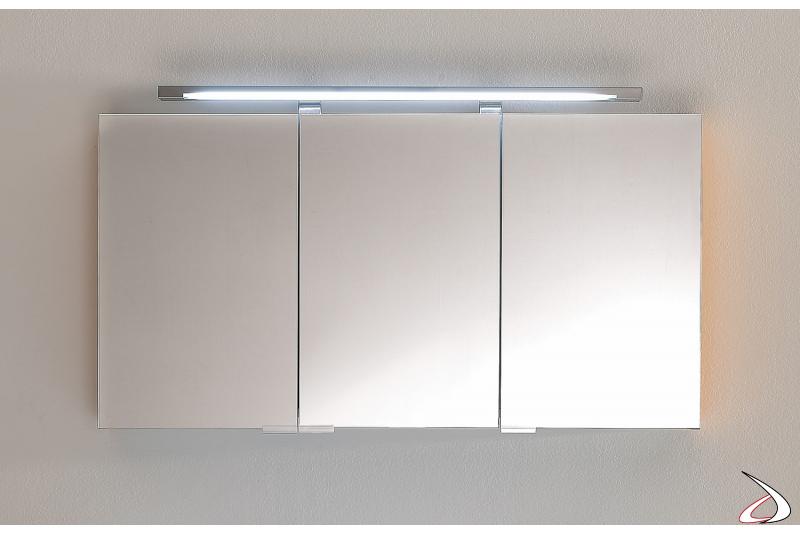 Specchio contenitore 3 ante da bagno con lampada al neon