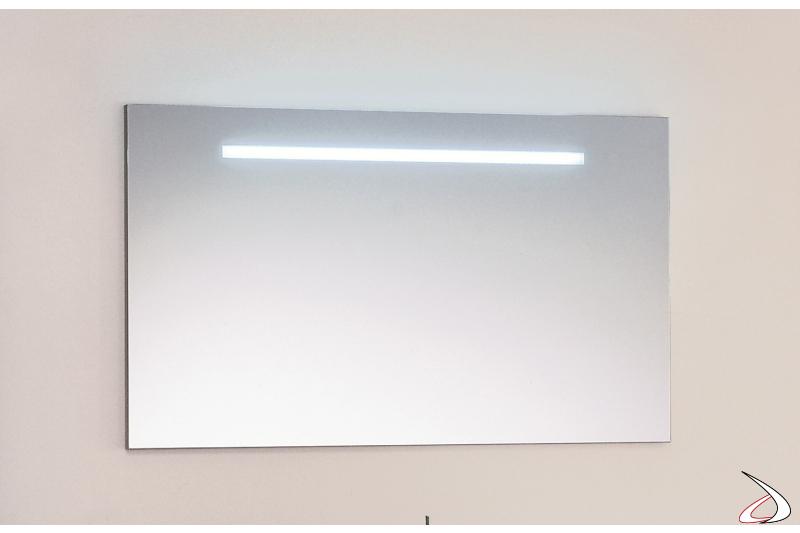 Specchiera rettangolare moderna da bagno con luce led integrata
