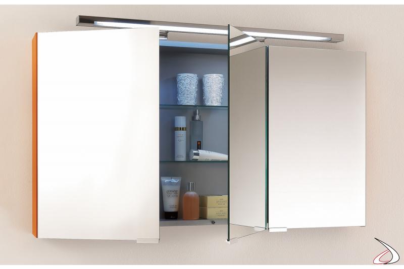 Specchiera moderna contenitore con 4 ante a specchio interno ed esterno