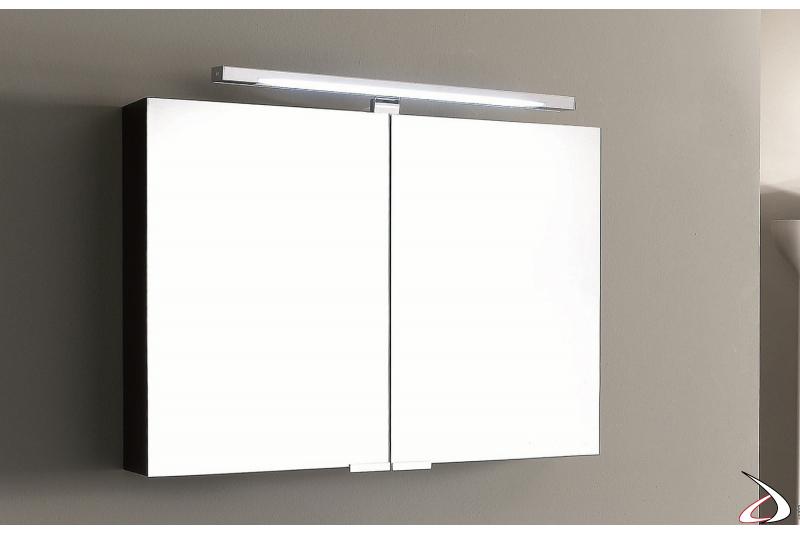 Specchiera a due ante contenitore con lampada led superiore