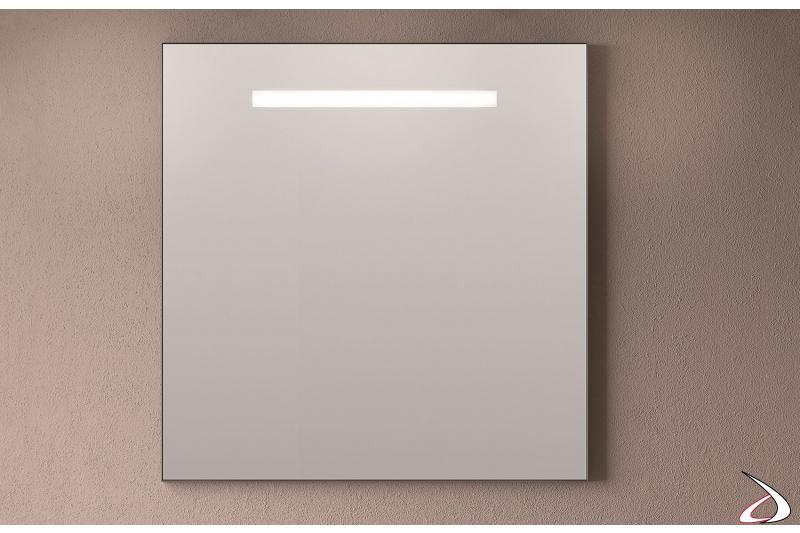 Specchio quadrato moderno da bagno con luce led integrata