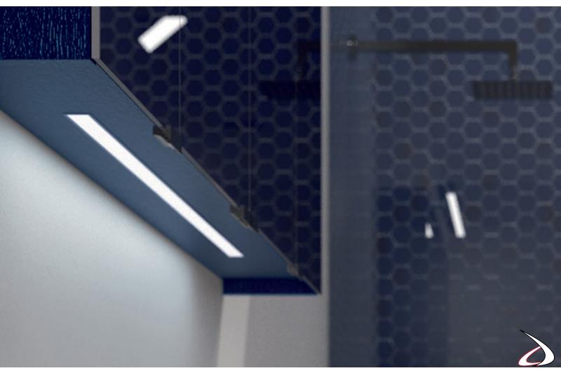 Specchiera bagno contenitore con luce led inferiore moderna