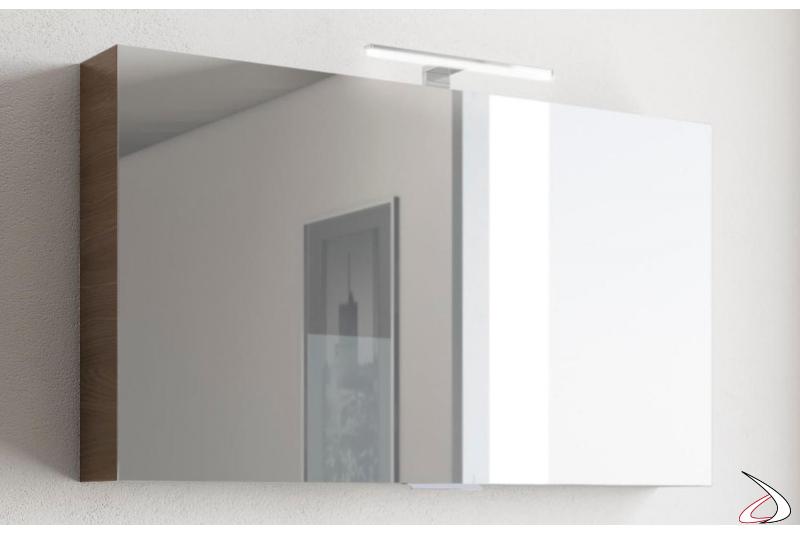 Specchiera moderna contenitore per l'arredo bagno con lampada a led