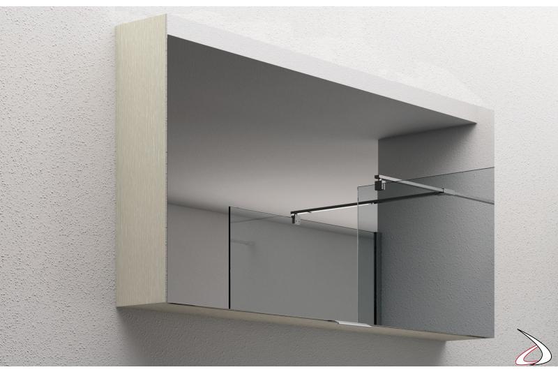 Specchio contenitore con anta a ribalta