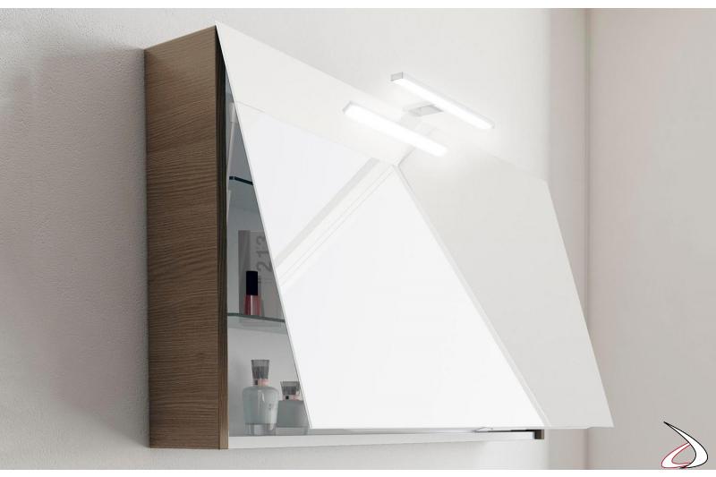 Specchiera contenitore con anta a ribalta moderna da bagno