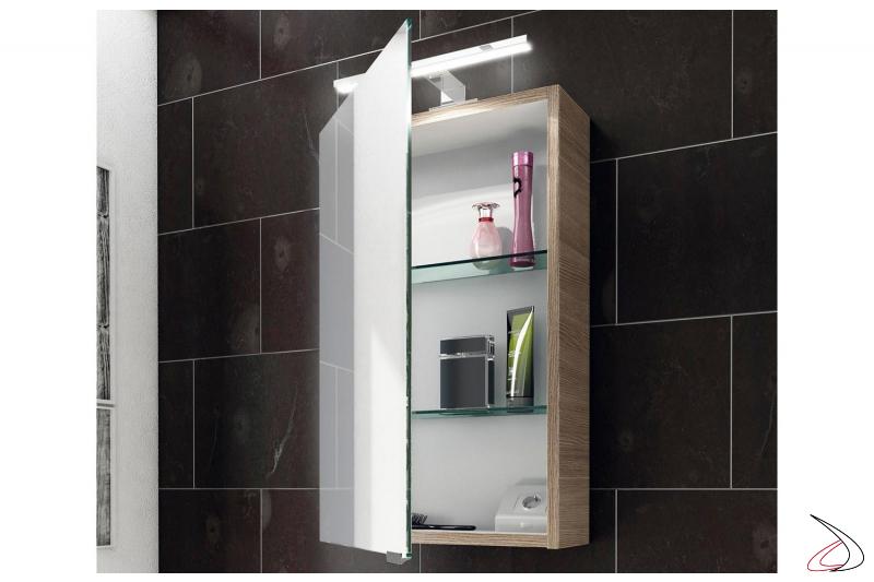 Specchio contenitore bagno con 1 anta e presa, interruttore interni