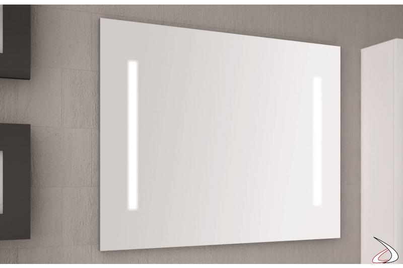 Specchio moderno da bagno con luce led integrata ai lati
