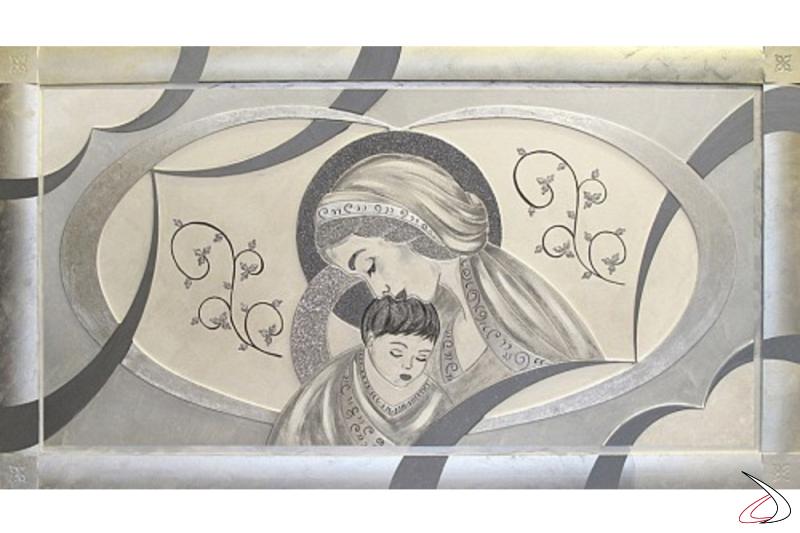 Quadro Amore Materno, finitura argento.
