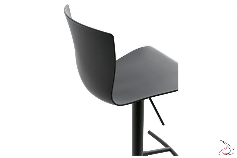 Sgabello design girevole con sedile in polipropilene grigio antracite