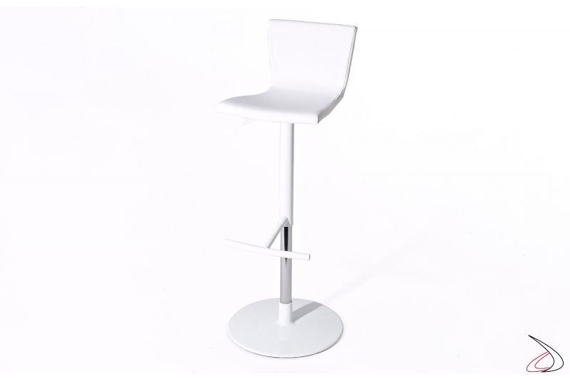 Sgabello regolabile in altezza bianco con pistone cromato e sedile in ecopelle