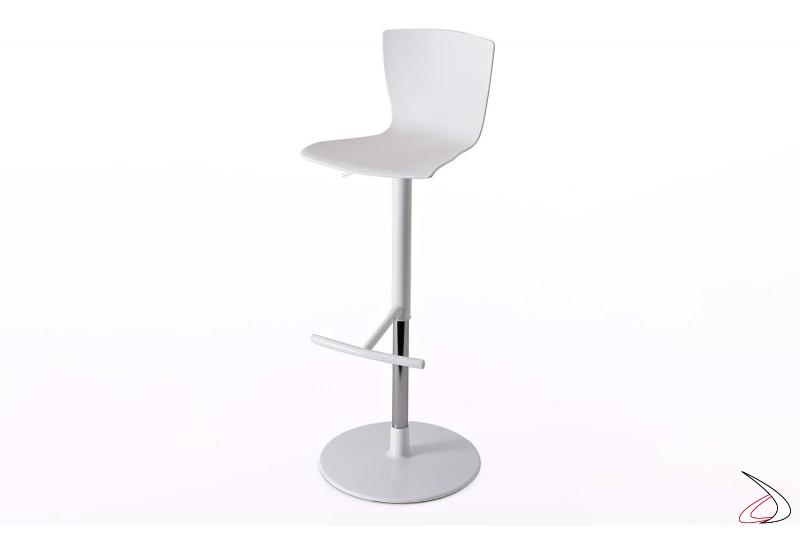 Sgabello con poggiapiedi girevole e regolabile in altezza con sedile bianco