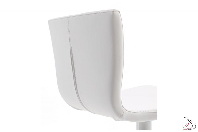 Sgabello moderno con sedile con schienale alto imbottito rivestito in ecopelle