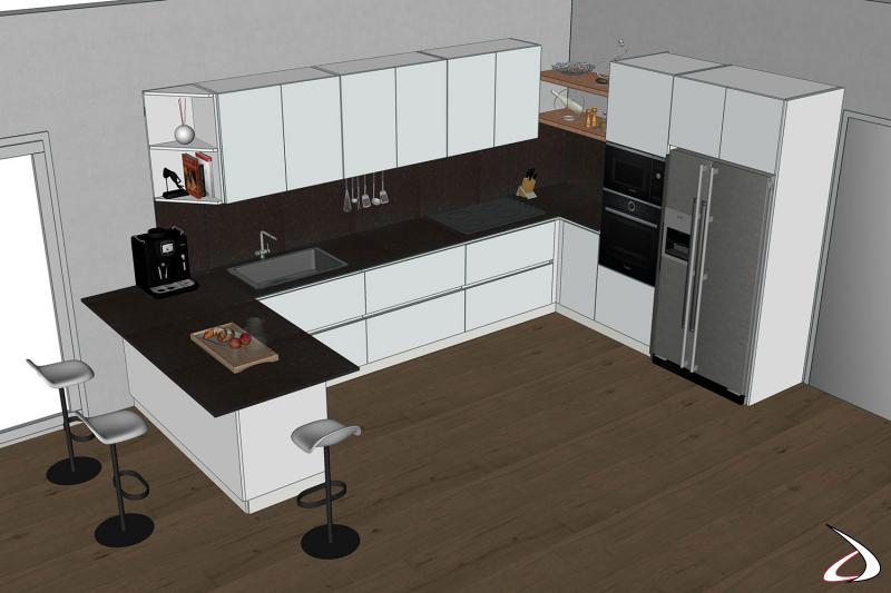 Render 3D cucina a ferro di cavallo con penisola e frigo libera installazione