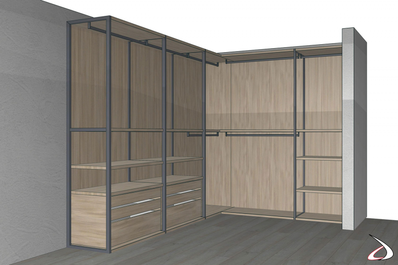 Render cabina armadio 3D