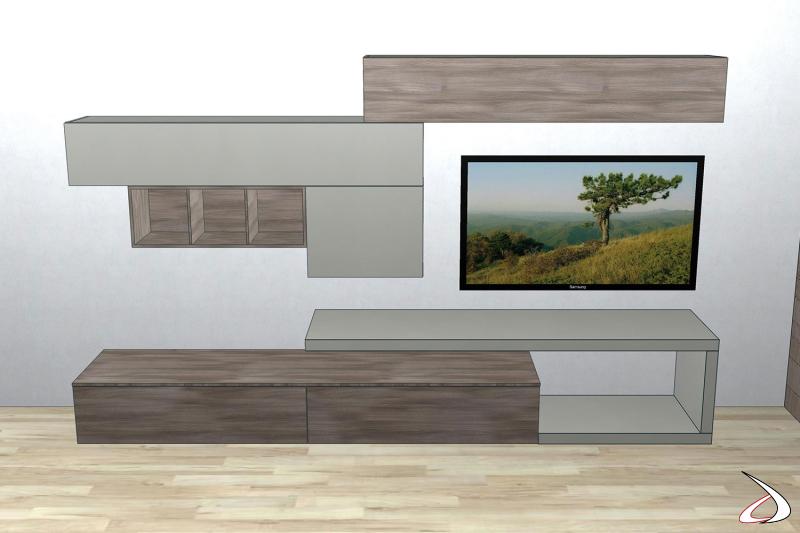 Render parete attrezzata 3D