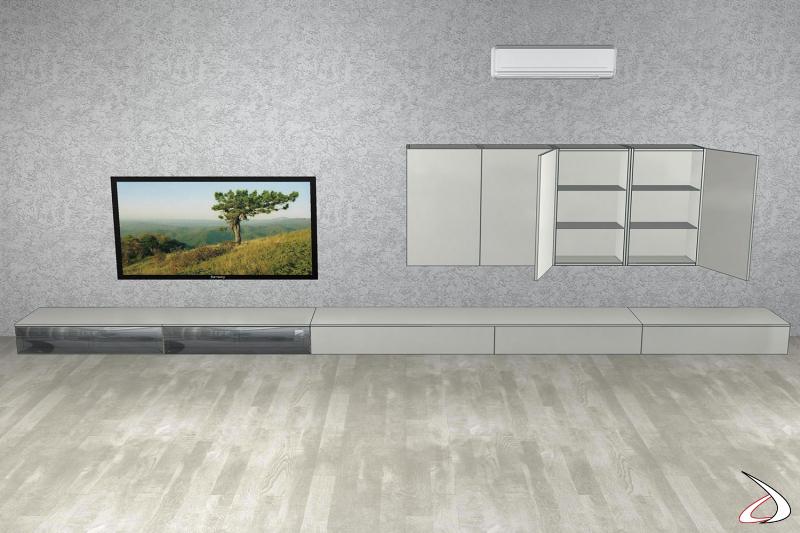 Render parete soggiorno 3D