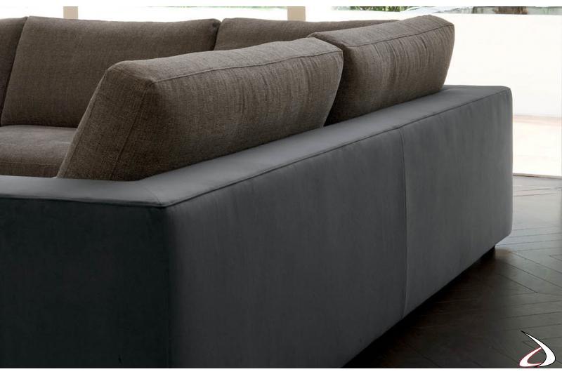 Dettaglio schienale divano in ecopelle grigio