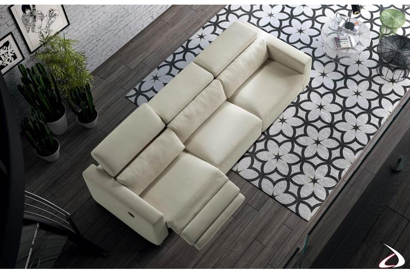Divano 3 posti recliner con poggiatesta reclinabile