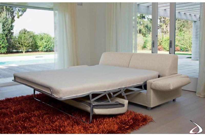Divano letto moderno con materasso a molle