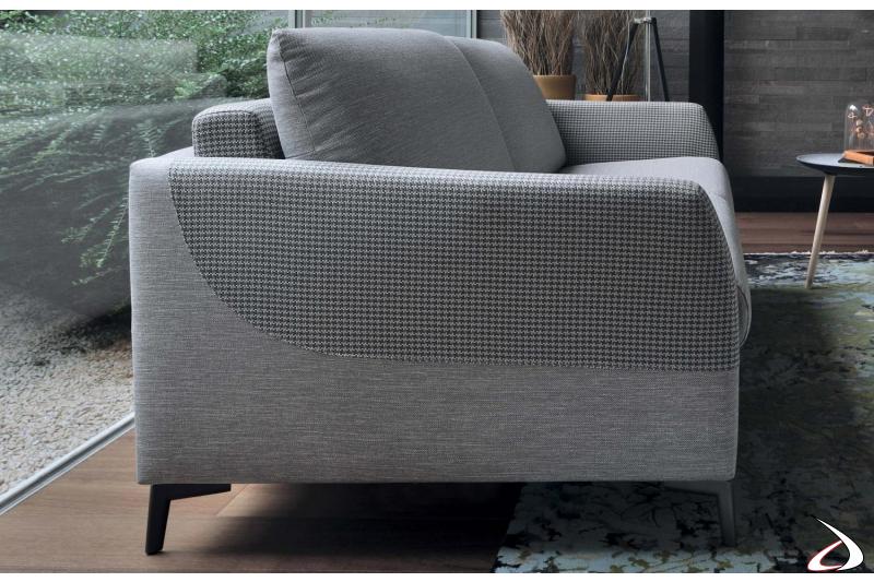 Divano letto design in tessuto bicolore sfoderabile