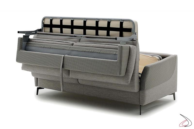 Divano letto trasformabile con rete elettrosaldata e materasso