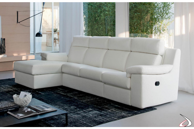 Divano con chaise lounge con meccanismo relax manuale
