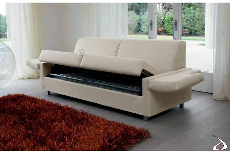 Divano trasformabile letto con rete elettrosaldata