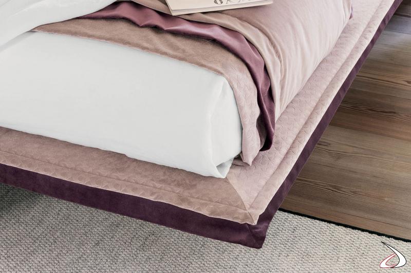 Letto di design sottile bicolore in tessuto sfoderabile