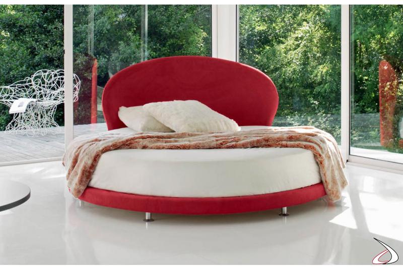 Letto rotondo moderno imbottito in tessuto rosso
