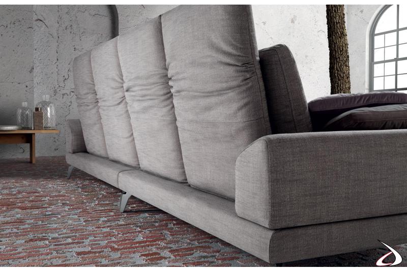 Divano moderno da salotto a 4 posti con schienali pieghevoli