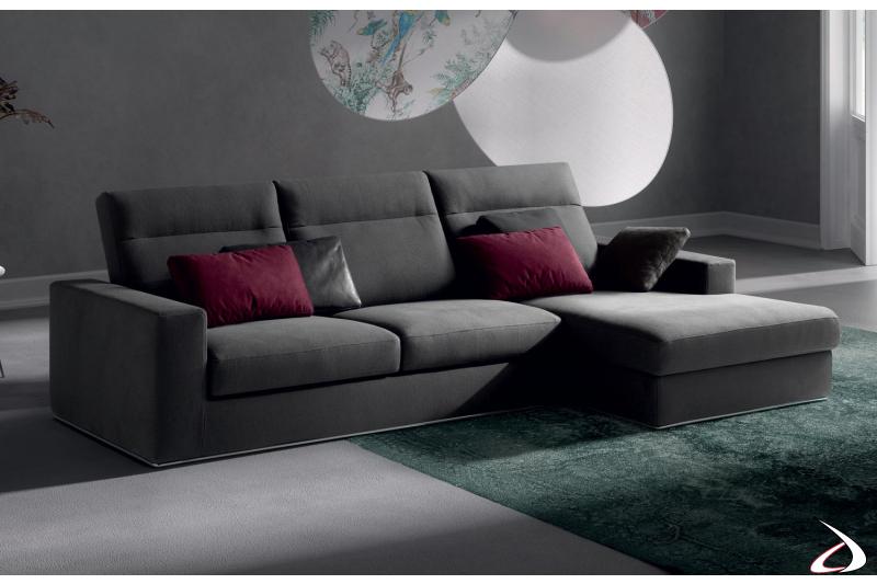 Divano di design in tessuto con chaise lounge