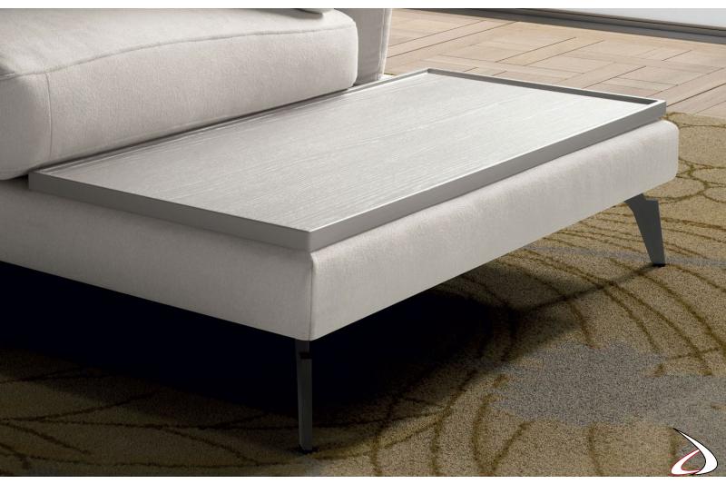 Ripiano in legno per divano di design con penisola