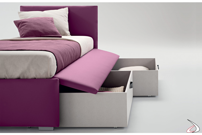 Single padded bed with drawers