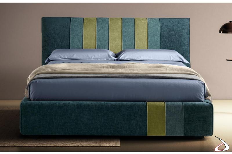 Letto design contenitore queen size in tessuto multicolor