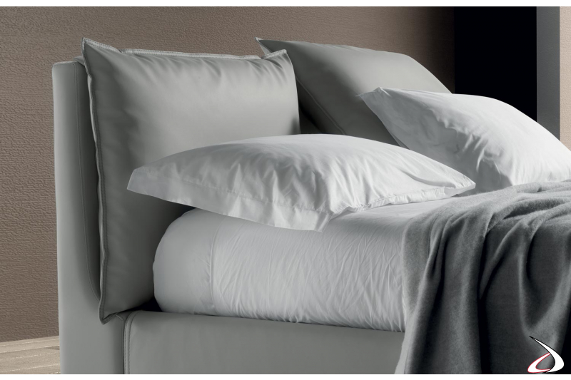 Letto matrimoniale design in tessuto con testiera reclinabile