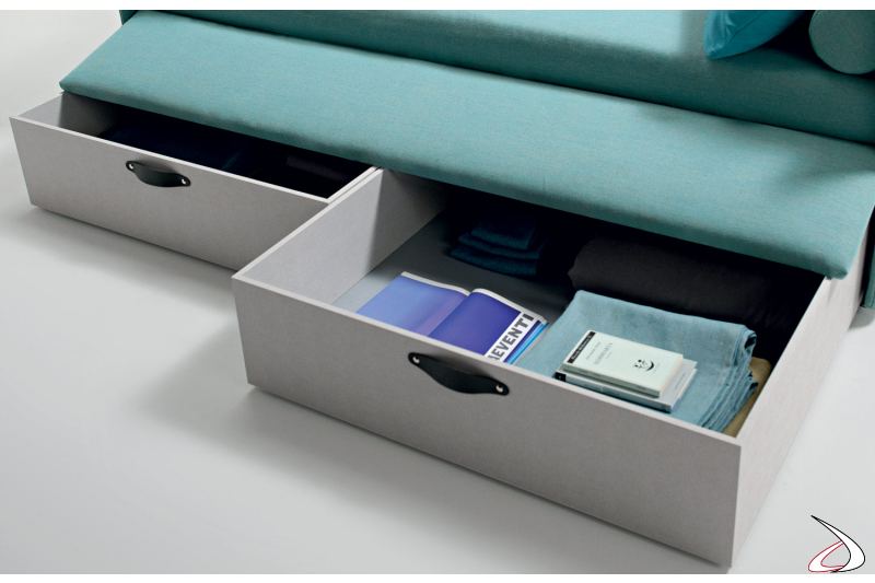 Bed with pull-out drawers