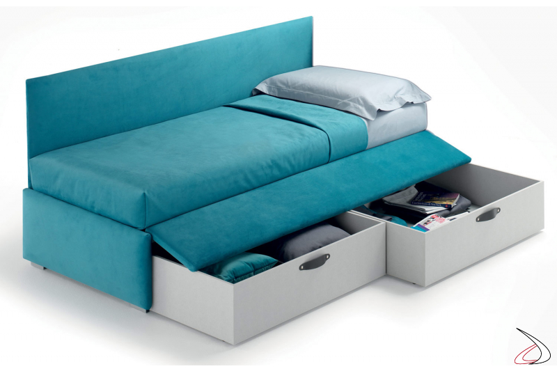 Contemporary upholstered bed with pull-out drawers