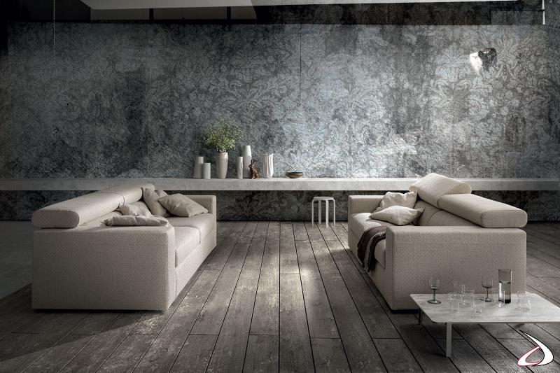 Divani da salotto moderni in tessuto con poggiatesta regolabili e sedute scorrevoli