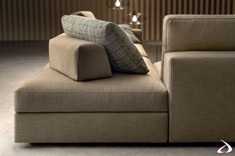 Pouf moderno quadrato per composizione divano con schienale removibile