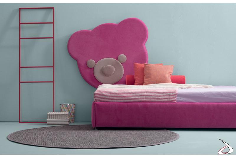 Testiera imbottita rosa a forma di orsetto per letto bambini