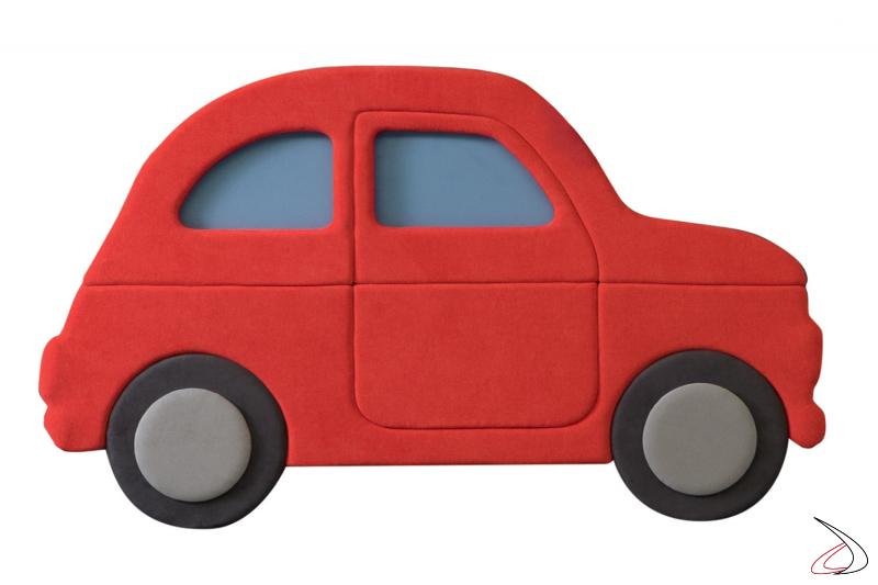 Testiera rossa imbottita per letto bambini a forma di macchina fiat 500