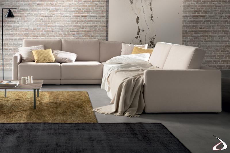 Divano ad angolo di design con sedute allungabili per divano letto