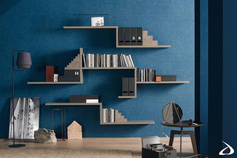Libreria moderna con mensole orizzontali e verticali