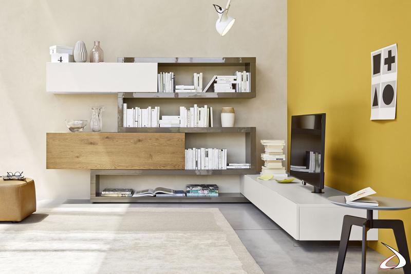 Mobile soggiorno ad angolo in legno con mensole in laccato lucido
