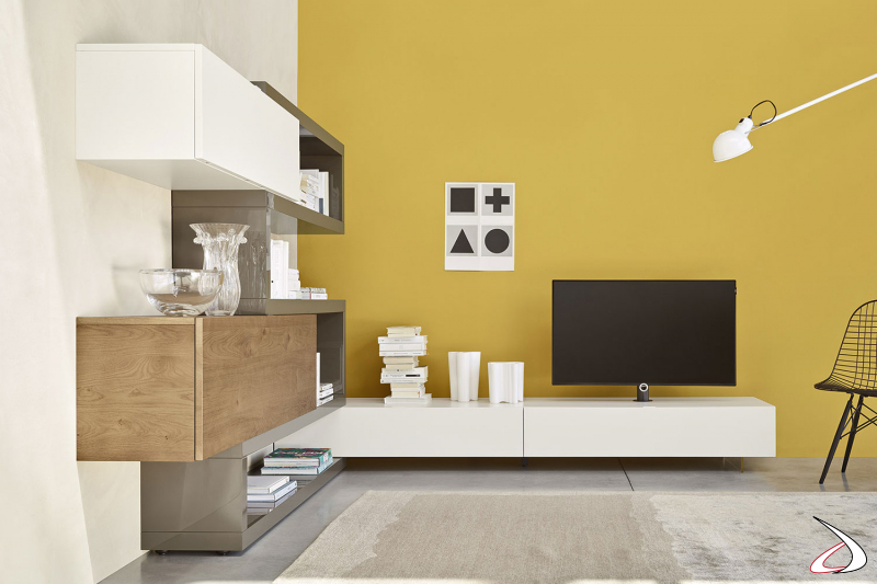 Mobile soggiorno moderno ad angolo con base tv con piedini trasparenti