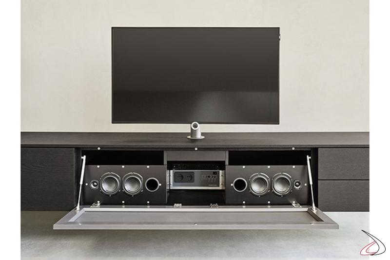 Parete soggiorno moderna attrezzata con basi sospese con soundbar incorporato