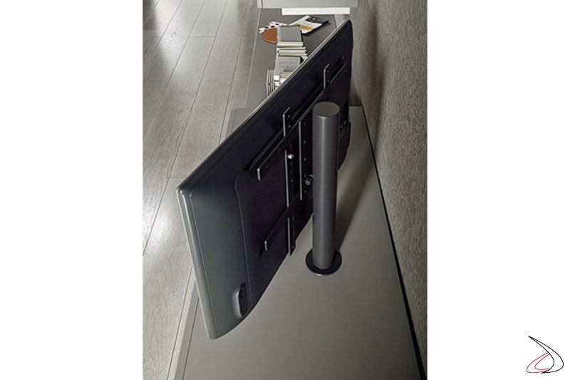 Mobile soggiorno componibile con base a terra con colonna porta tv orientabile
