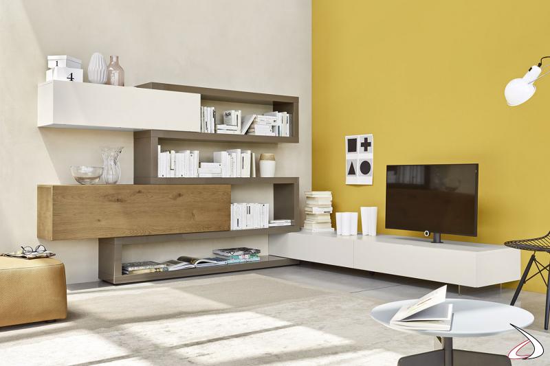 Mobile soggiorno ad angolo moderno con colonna porta tv orientabile