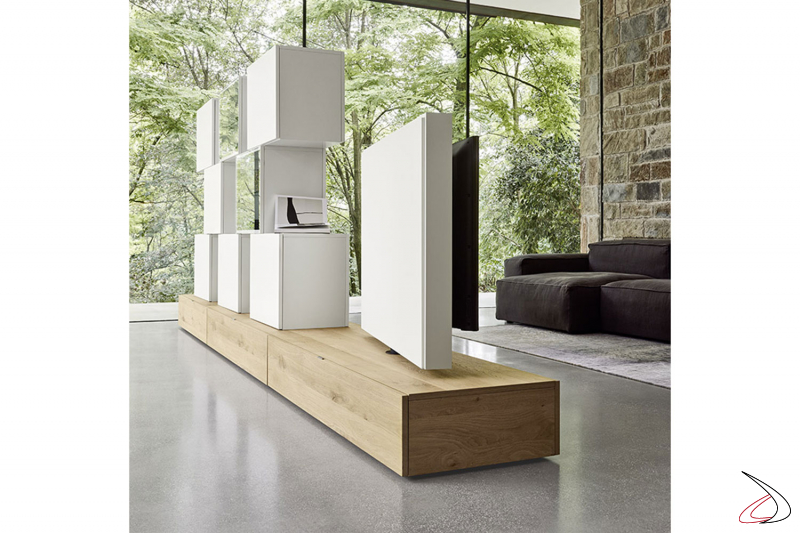 Mobile soggiorno bifacciale moderno con pannello tv girevole a 180°